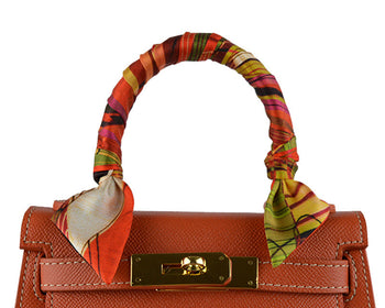Ribbon Silk Scarf - Vermillion Scotch Chaos
