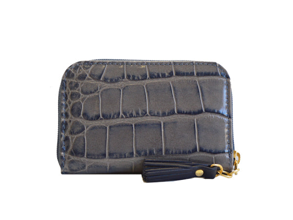 Small Zip Purse 'Croc Print' Leather  -Light grey