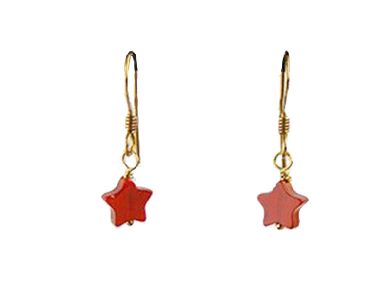 Gold Plated Brass with Carnelian Star Earrings