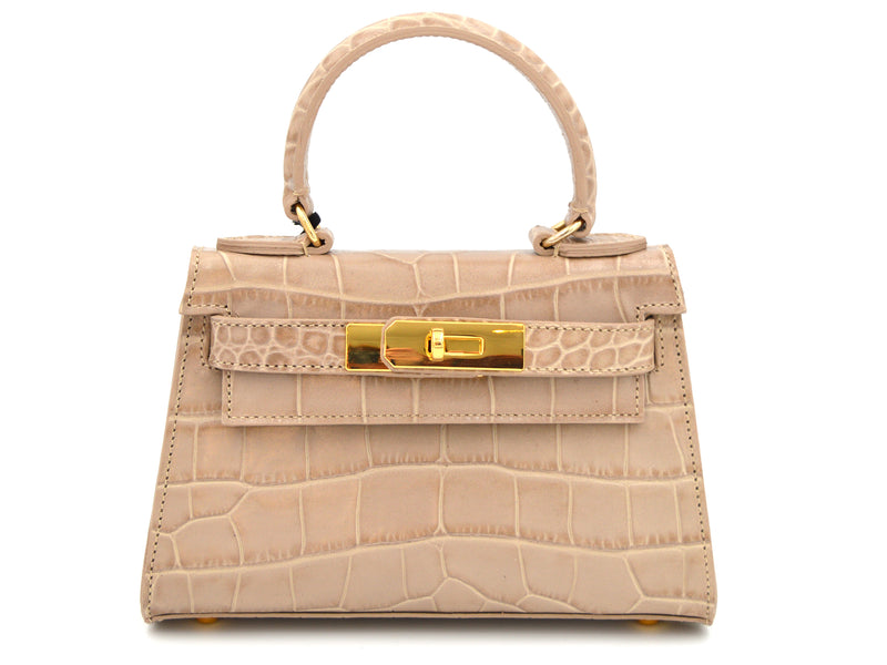 Manon Mignon - 'Croc Print' Leather Handbag - Stone