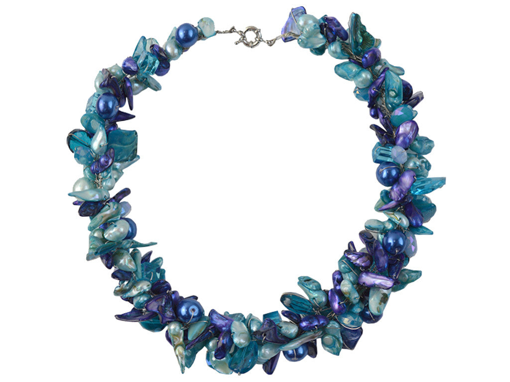 Glass and Shell Necklace in Turquoise/Purple