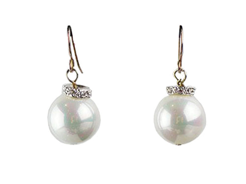 12mm Mother of Pearl on Silver with Diamante - White