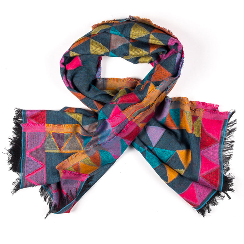 Scarf with Triangles - Grey/Multi