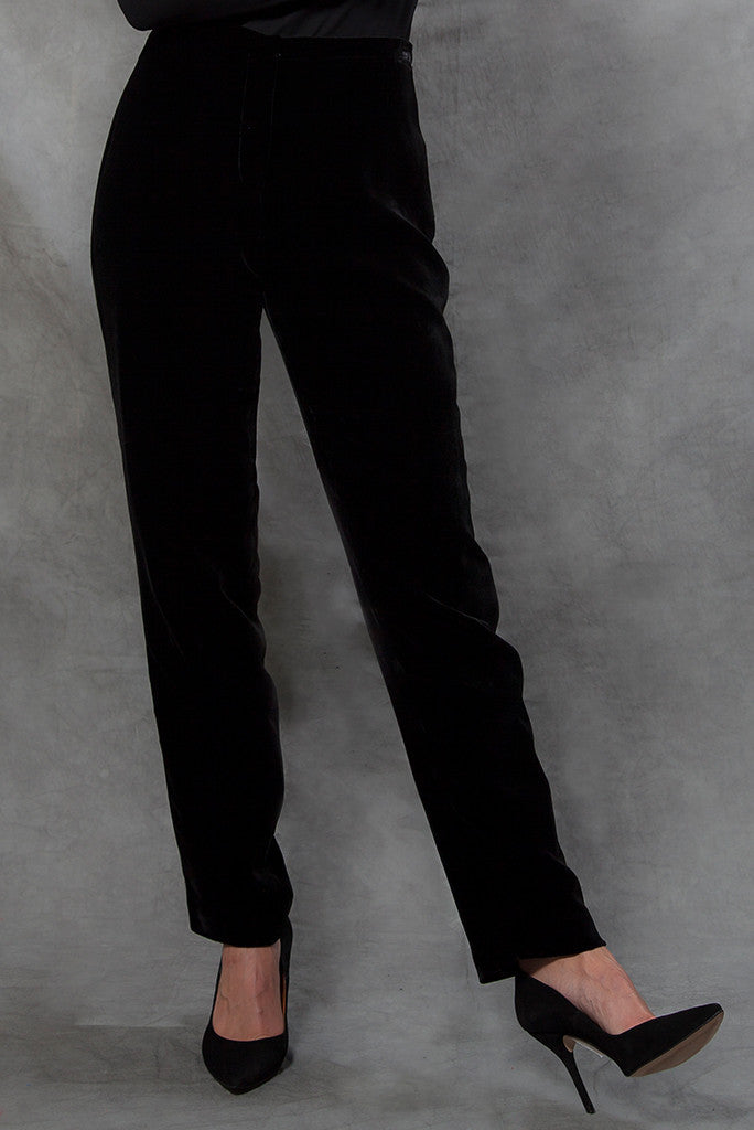 Trousers - Velvet Trousers With Narrow Leg In Black - Cigarette