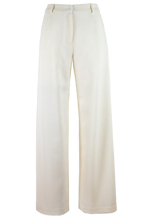 Trousers - Wide Leg Wool Crepe Trousers In Ivory  - Paula