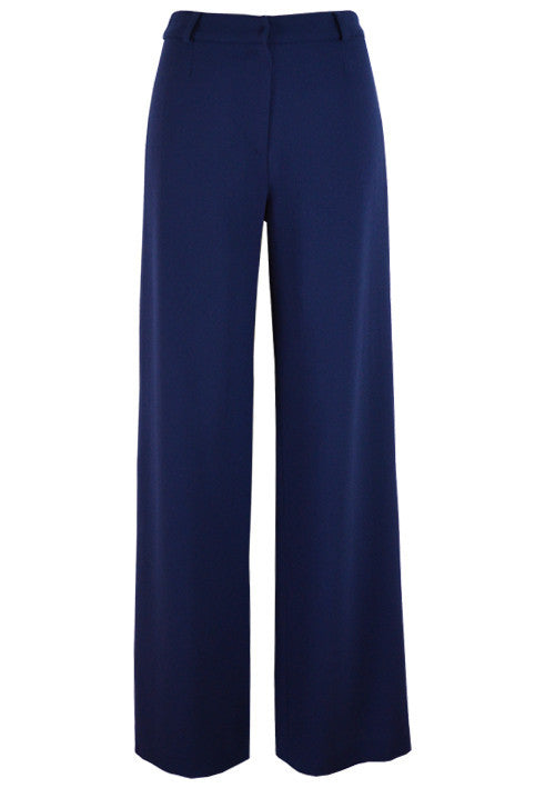 Trousers - Wide Leg Wool Crepe Trousers In Navy  - Paula