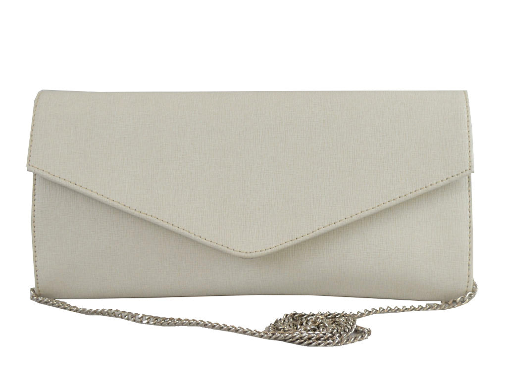 Clutch Handbag Saffiano Leather - Ivory