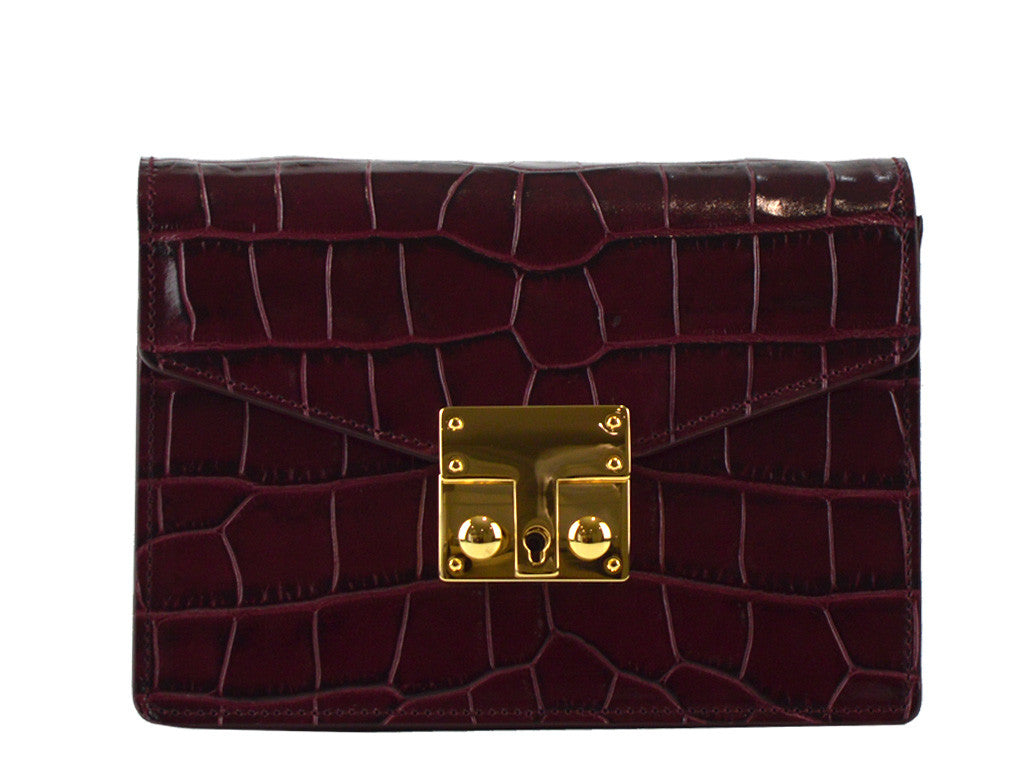 Small Coppelia 'Croc Print' Leather Shoulder Bag - Wine