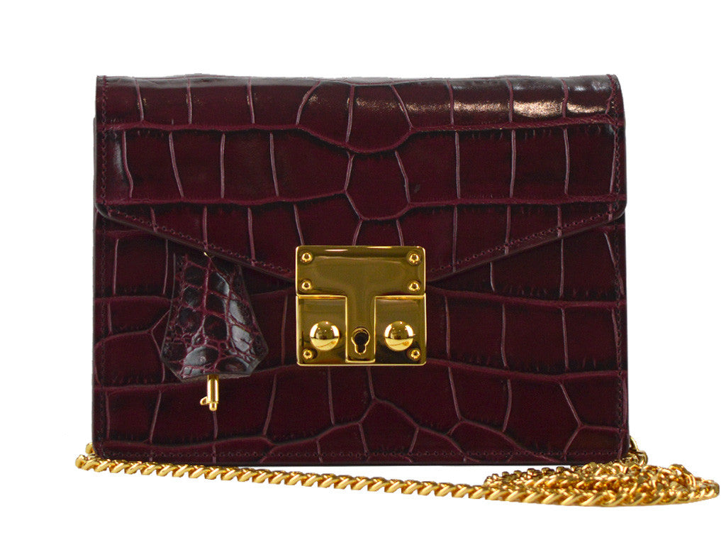 Coppelia Small 'Croc' Print Leather Shoulder Bag - Wine