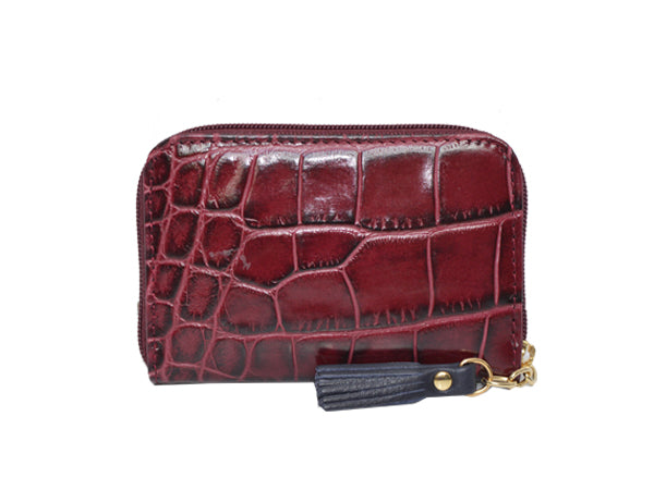 Small Zip Purse 'Croc Print' Leather  -Wine