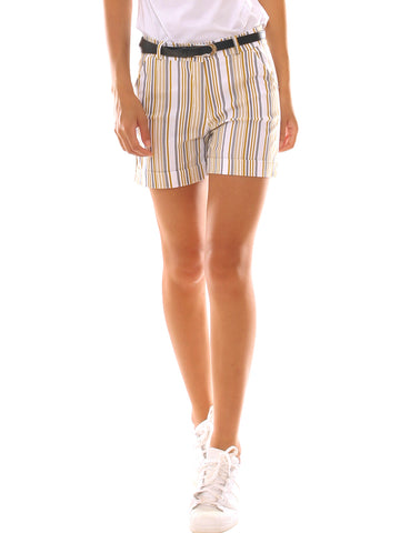 Shorts donna in gabardina super stretch fantasia con cintura