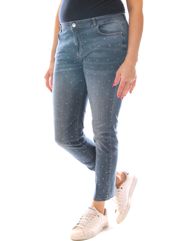 Jeans a sigaretta donna in denim cotone stretch con strass taglia morbida