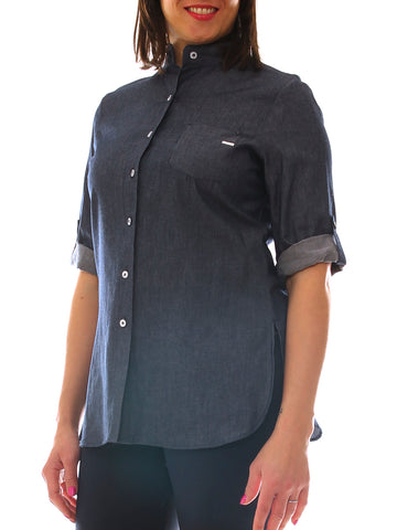 Camicia donna in jeans denim collo alto taglia morbida - Luanaromizi.com
