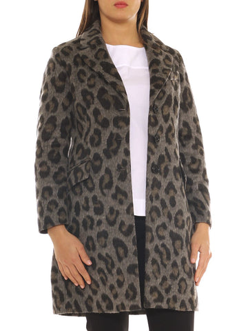 Cappotto donna in velour misto lana fantasia animalier