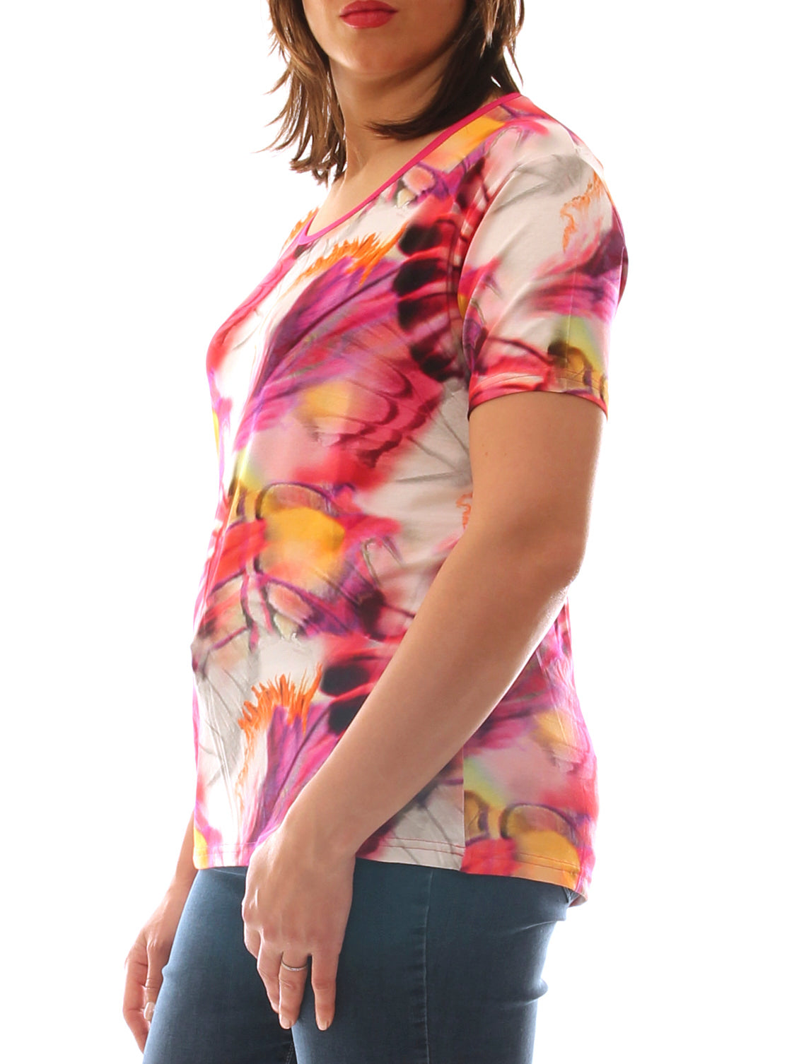 T-shirt donna in jersey stretch fantasia multicolor taglia morbida - Luanaromizi.com