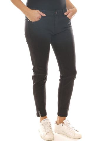Jeans skinny donna nero in denim stretch con strass sul fondo taglia morbida