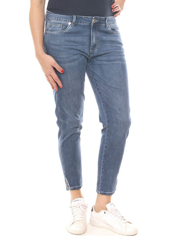 Jeans chino donna in denim stretch con strass taglia morbida - Luanaromizi.com