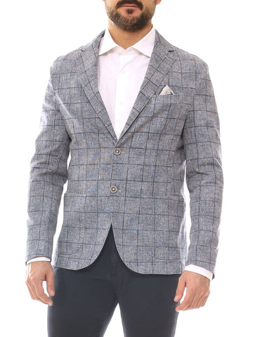 GIacca uomo slim fit in cotone stretch fantasia quadri melange
