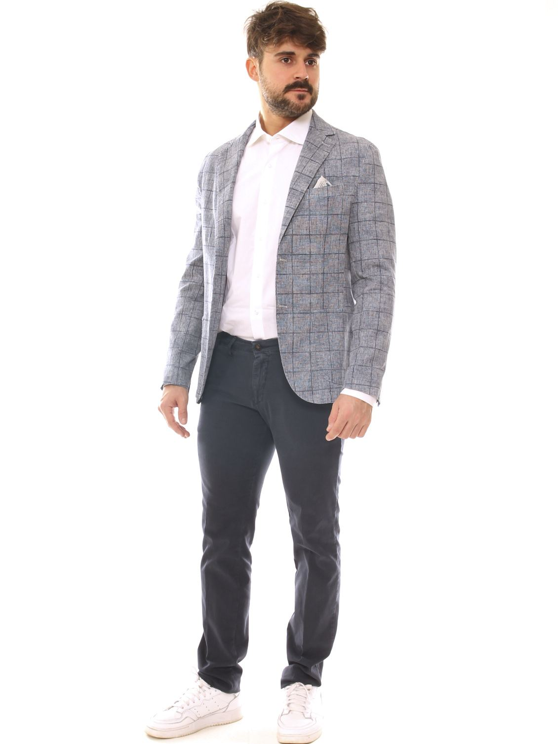 GIacca uomo slim fit in cotone stretch fantasia quadri melange - Luanaromizi.com