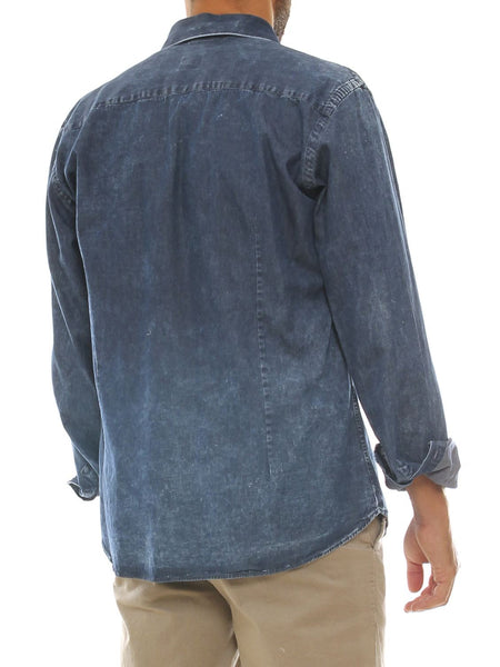 Camicia uomo in jeans denim con schiariture