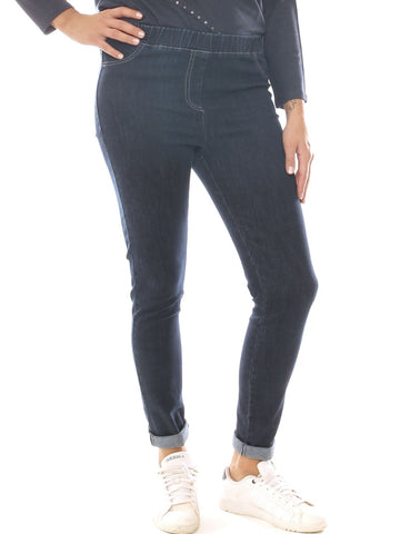 Jeans skinny donna in denim cotone stretch con elastico taglia morbida