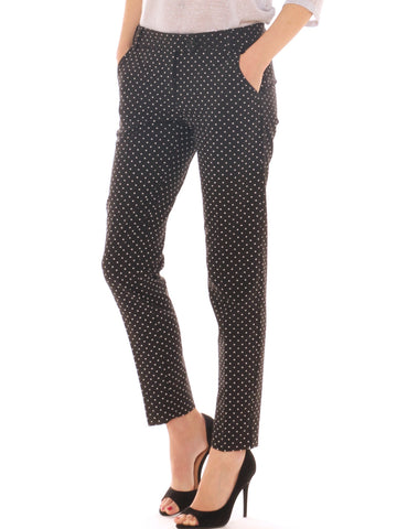 Pantalone chino donna in tessuto stretch goffrato micro fantasia