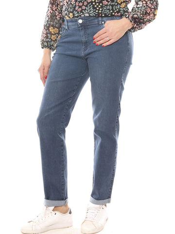Jeans boyfriend donna in denim cotone stretch taglia morbida - Luanaromizi.com