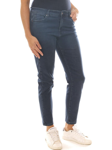 Jeans a sigaretta donna in denim stretch con strass taglia morbida