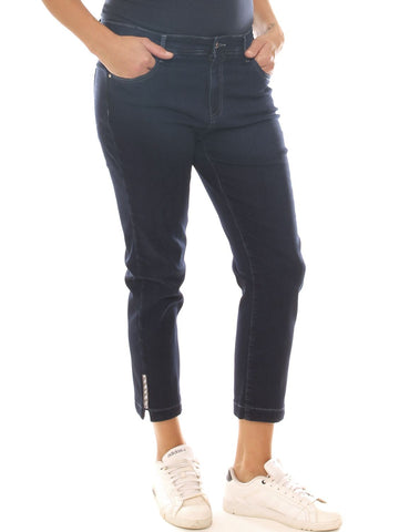 Jeans cropped donna in denim stretch con strass taglia morbida