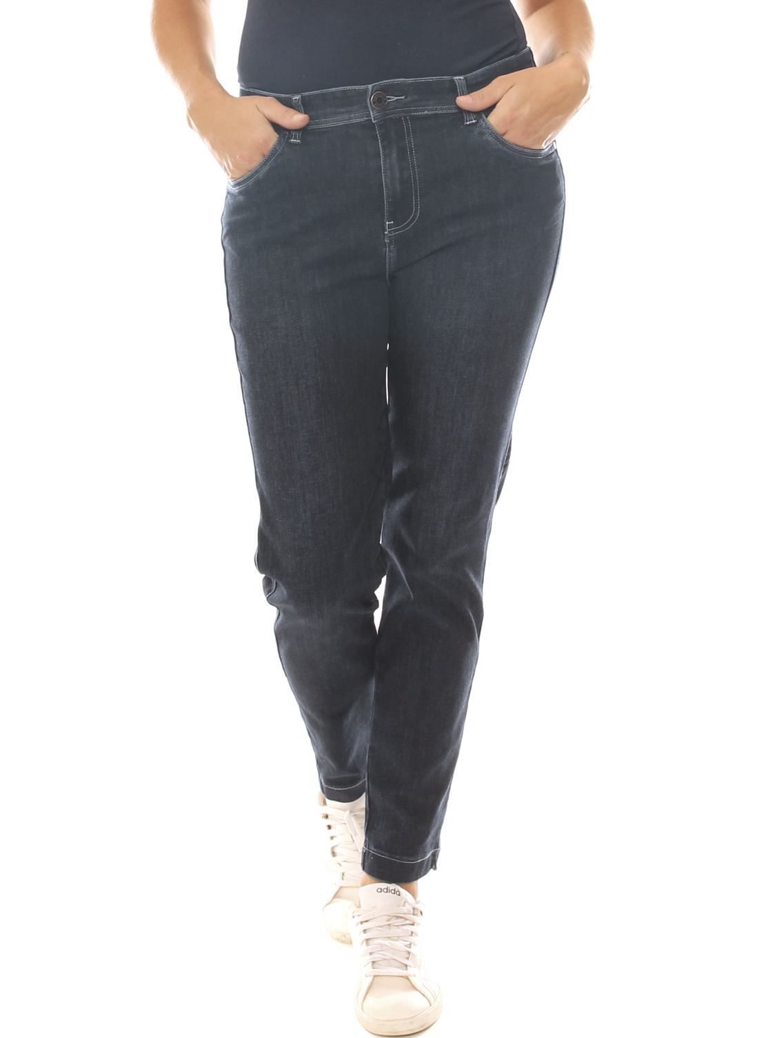 Jeans a sigaretta donna in denim stretch taglia morbida