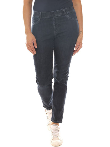 Jeans a sigaretta donna in denim stretch con elastico taglia morbida