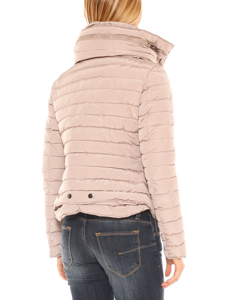 Piumino donna corto slim fit in nylon trapuntato collo alto - Luanaromizi.com