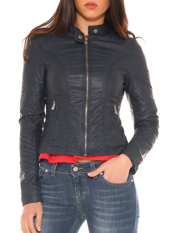Giubbino donna slim fit in ecopelle collo alto - Luanaromizi.com