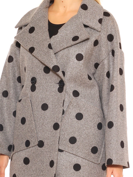 Cappotto donna over fit in velour fantasia pois doppiopetto - Luanaromizi.com
