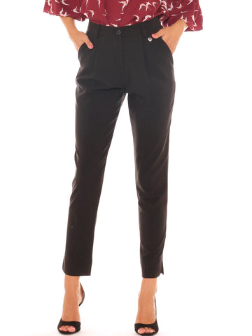 Pantalone chino donna in tessuto stretch con pinces