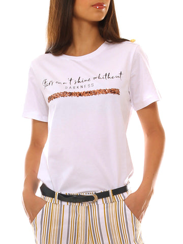 T-shirt donna in cotone stretch stampato con paiettes