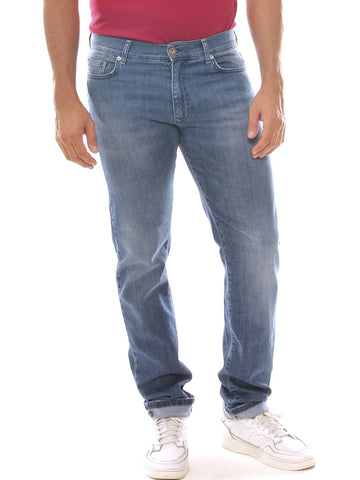 Jeans a sigaretta uomo taglie forti in denim stretch con schiariture