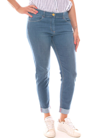 Jeans chino donna in denim super stretch con risvolto e strass taglia morbida - Luanaromizi.com