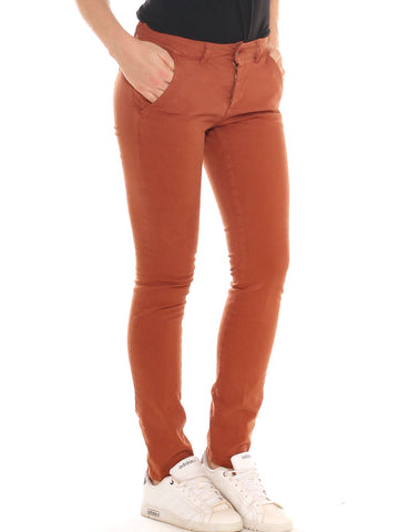 Pantalone skinny donna in cotone stretch tinto in capo