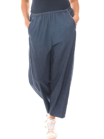 Jeans baggy donna in denim cotone stretch taglia maxi - Luanaromizi.com