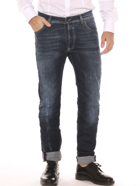 Jeans chino uomo in denim cotone stretch con schiariture - Luanaromizi.com