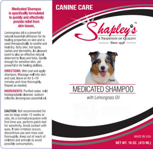 Shapleys Canine Care Medicated Shampoo LABEL