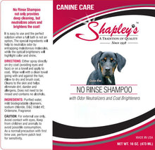 Load image into Gallery viewer, Shapleys Canine Care No Rinse Shampoo LABEL