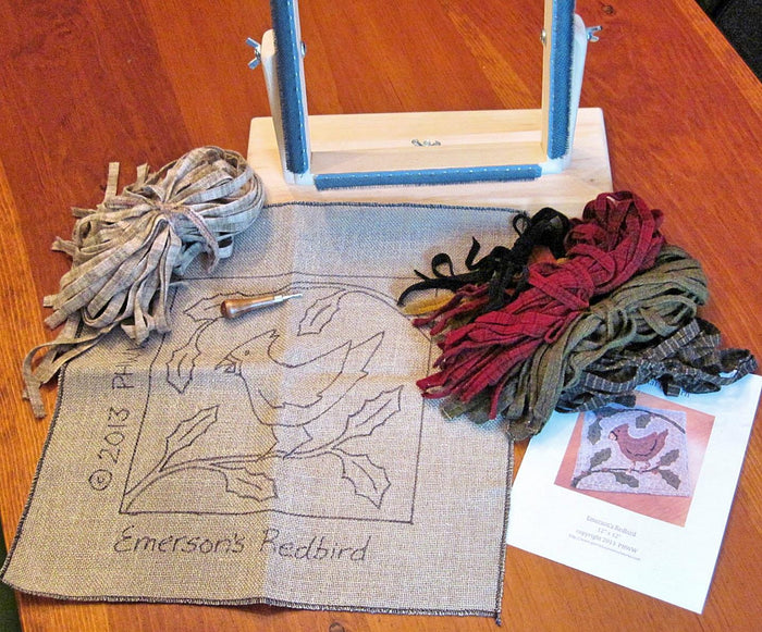 Deluxe Complete Beginner Rug Hooking Kit - Choice of Frame, Pattern, Wool, & Hook - Pattern of Your Choice