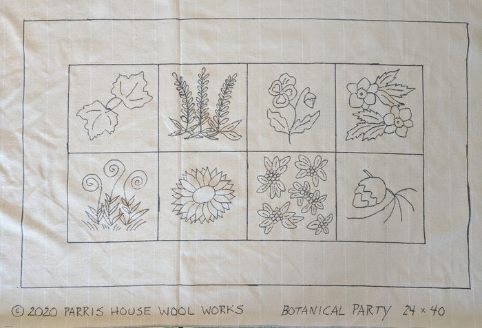 "Botanical Party - *PATTERN ONLY*  24"" x 40""  Hooked Rug Pattern"