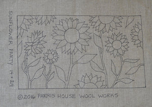 "Sunflower Party *PATTERN ONLY* 14"" x 24""  Hooked Rug Pattern"