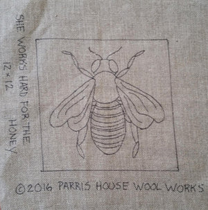 "She Works Hard for the Honey *PATTERN ONLY* 12"" x 12""  Hooked Rug Pattern"