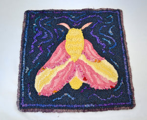 "12"" x 12"" Hooked Rug Table Mat or Wall Hanging - ""Rosy Maple Moth"" (Finished)"