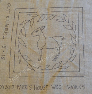 "Goat & Laurel *PATTERN ONLY* 15"" x 15""  Hooked Rug Pattern"