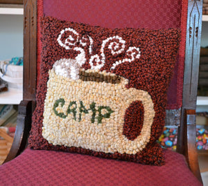 "Hot Cocoa at Camp  - Customizable *PATTERN ONLY* 12"" x 12""  Hooked Rug Pattern"